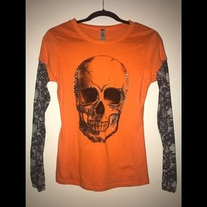 Halloween Orange Black Silver Glitter Skull Shirt
